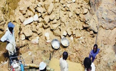 Gold miners at a site in Kakamega county