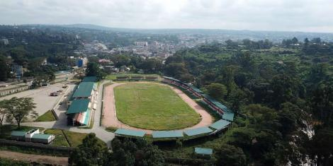 Aerial view of the William Ole Ntimama Stadium in Narok taken on June 23, 2020.