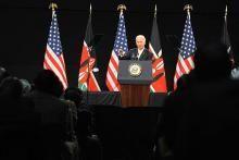 US President Joe Biden addressing a public forum at the Kenyatta International Conference Center (KICC) in Nairobi on June 9, 2010
