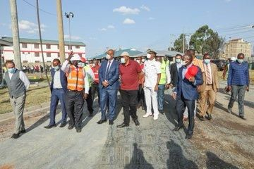 President Uhuru Kenyatta when he made an impromptu visit at new asphalt blending plant on Kangundo Road on Friday, October 9.