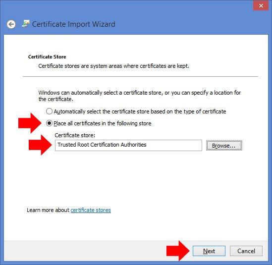 Installing SSL certificates for Internet Explorer and Chrome ...