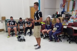 Football and volleyball teams visit Torrence Prekindergarten