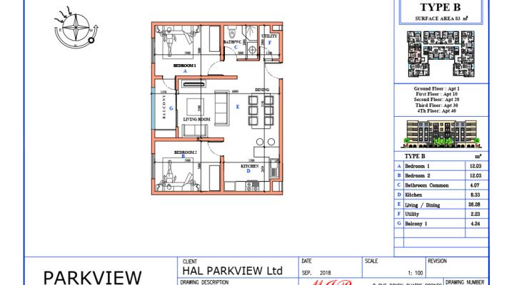 For sale several studios, apartments of 1 to 3 bedrooms Sodnac Quatre Bornes floorplan 2