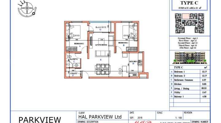 For sale several studios, apartments of 1 to 3 bedrooms Sodnac Quatre Bornes floorplan 3