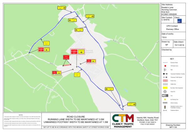 temporary road closure reades lane