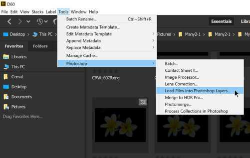 Push selected images to Photoshop from Bridge