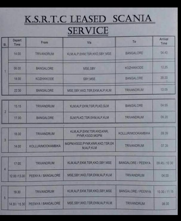 KSRTC Scania bus to Trivandrum