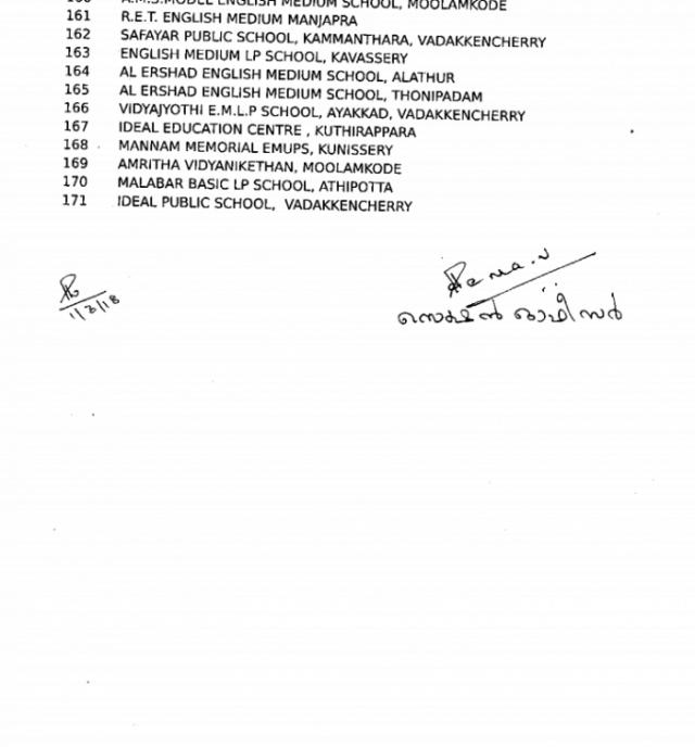 list of schools shutting down in paLAKKAD