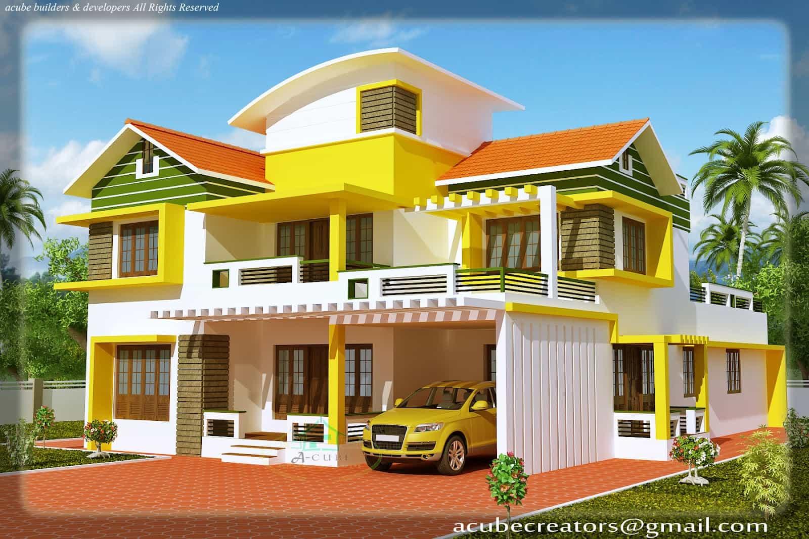 Kerala House Model Duplex House Elevation At 2700 Sq Ft