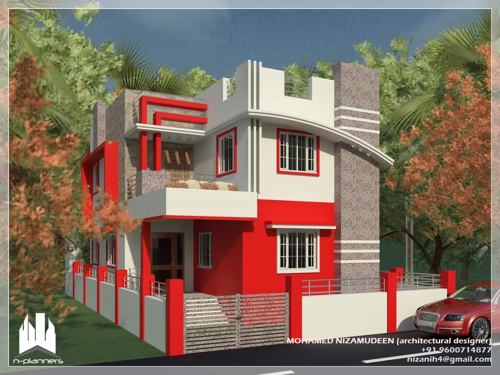Contemporary style House design at 1375 sq.ft on Modern House Painting  id=87254