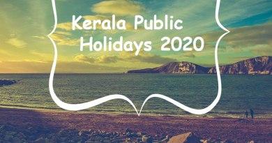 Kerala Public Holidays 2020