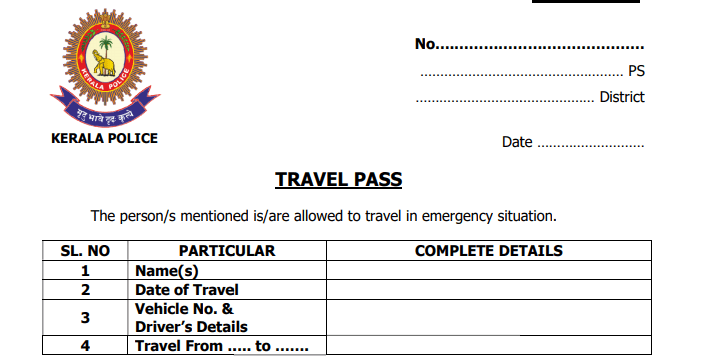 Kerala Police inter district Travel Pass will issue Police Stations covid-19