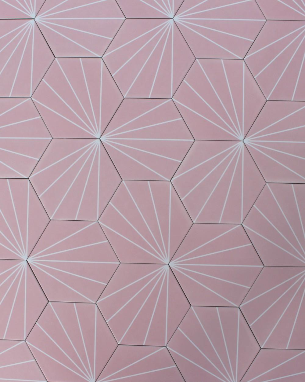 hexagon design tile stripes porcelain stoneware pink tile online shop