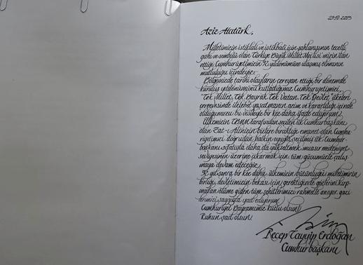 Anıtkabir Özel Defterine Cumhurbaşkanı Erdoğan'ın Yazdıkları