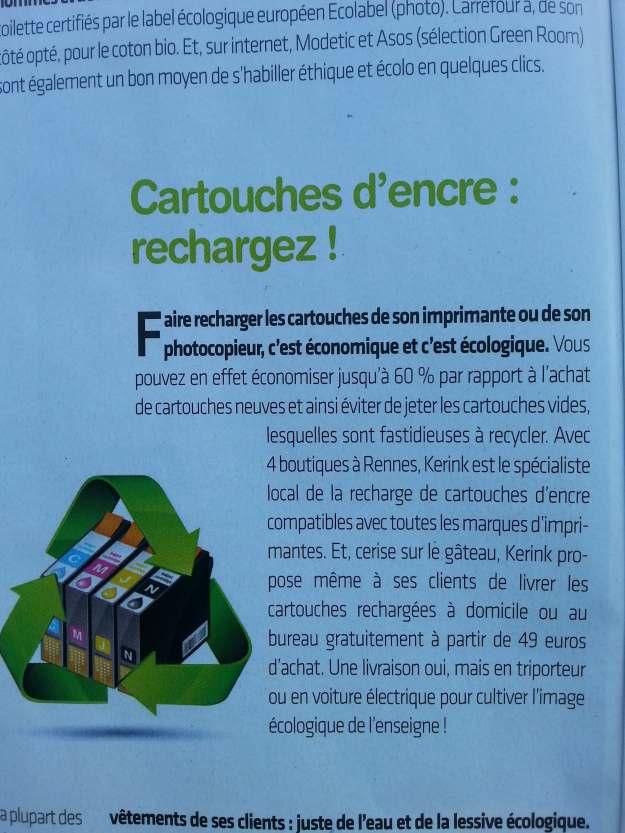 Article de Rennes Conso sur KERink et la recharge de cartouches d'encre