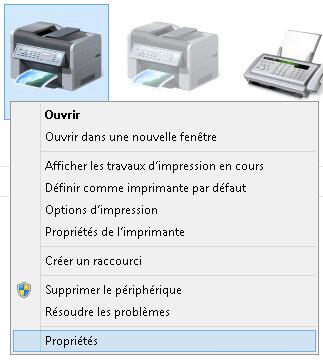 Propriétés imprimante