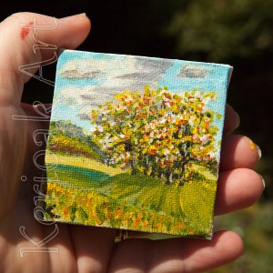 Trees on Hillock Miniature Art