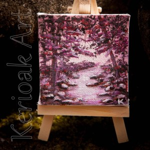 Misty Pink Woodland Miniature Art
