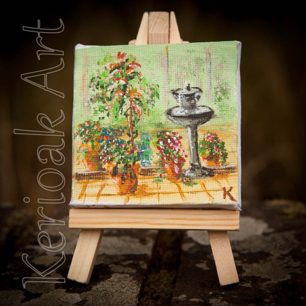 Courtyard Garden and Birdbath Fountain miniature art