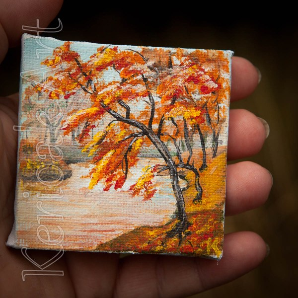 Autumn River Scene Miniature Art