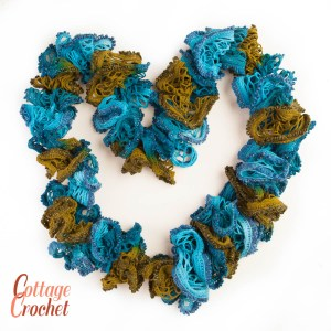Blue and Green Ruffle Sashay Scarf