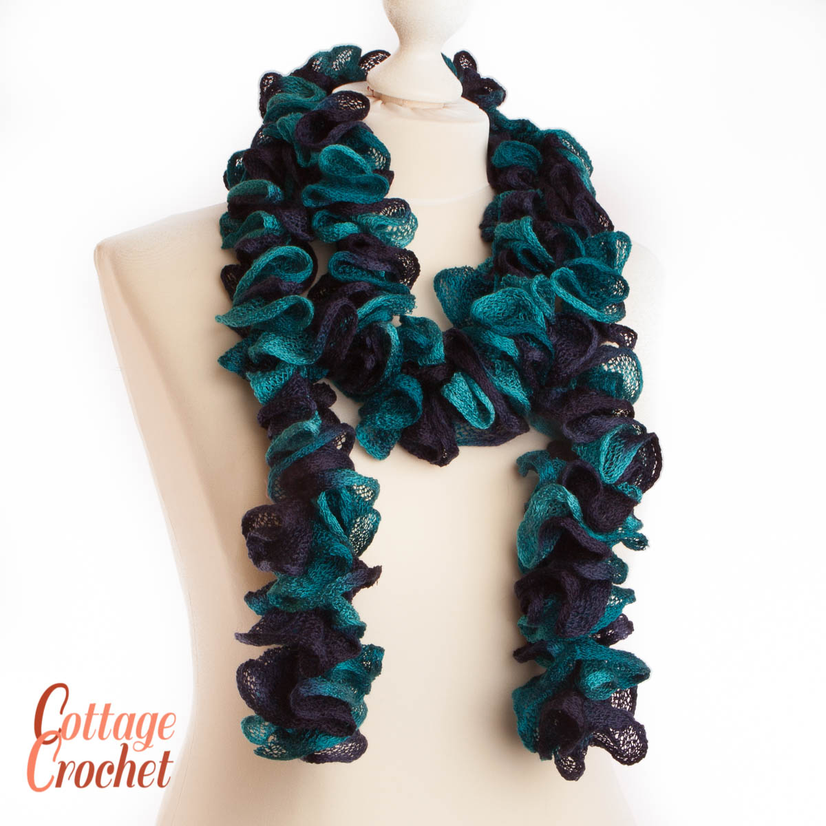 c1d128e2e056e Blue Ruffle Sashay Scarf, Shades of Blue, • Kerioak