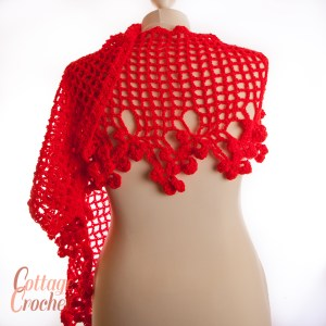 Floral Red Crochet Scarf