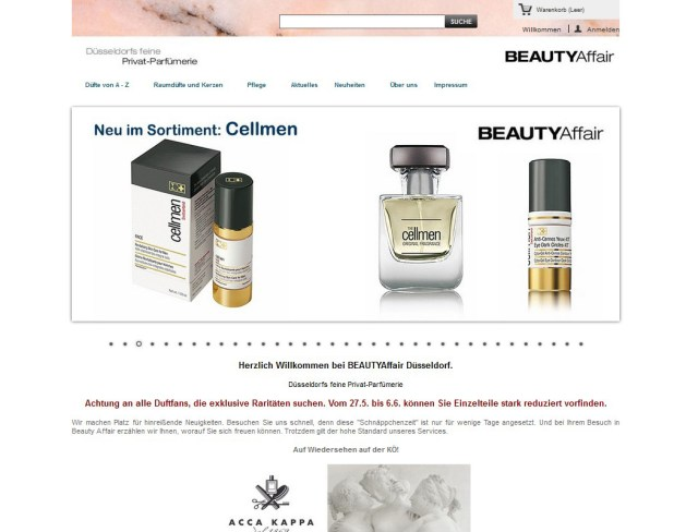 BEAUTYAffair Düsseldorf | Onlineshop | Webdesign