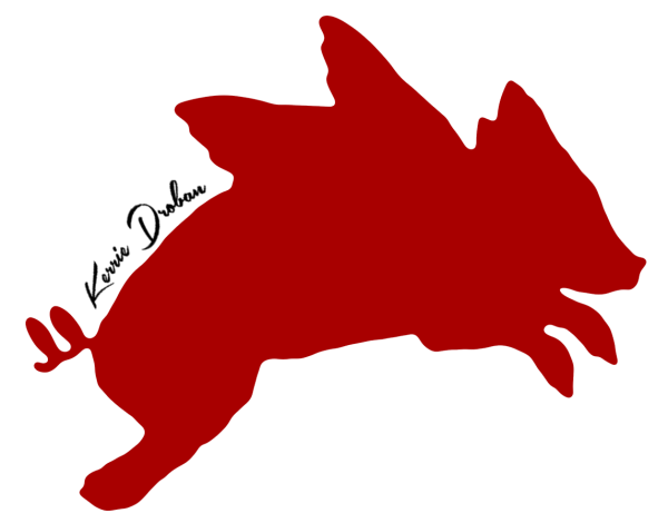 red pig with black name