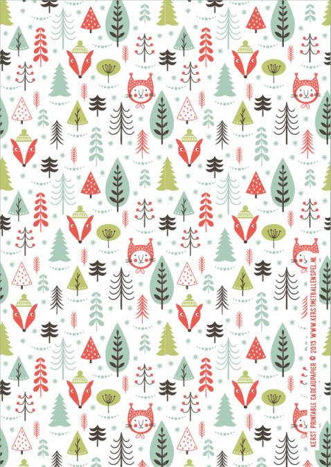 Kerst Printable - Cadeaupapier variant 3