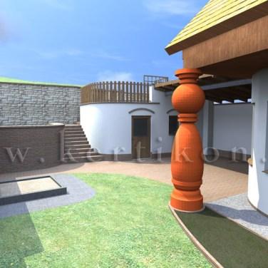 3D látványterv - családi ház kert, kerti tároló és oldalkert