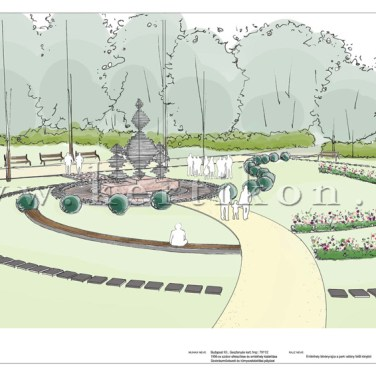 Gesztenyés kert, 1956-os emlékhely Szobrászművészeti és környezetalakítási pályázat - sétány felőli látványrajz