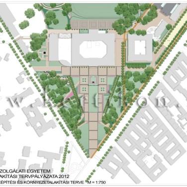 NKE tervpályázat - Ludovika tér, környezetalakítási terv