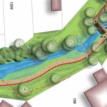 Jellemző tereprendezés és burkolat a tanösvény mentén, patak parki tansétány kertépítészeti tanulmányterv