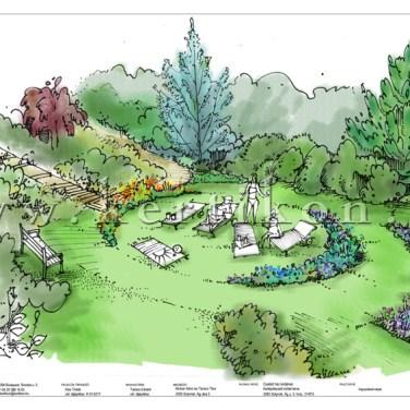 Kerti látványrajz, családi ház kertje, napozókert kialakítása