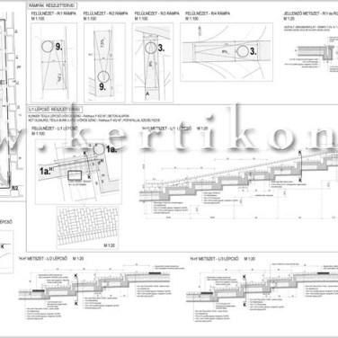 Lépcső, rámpa terv - villakert, park tervezés