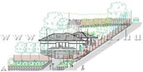 Utcai nézet - teraszolt kert tervezése