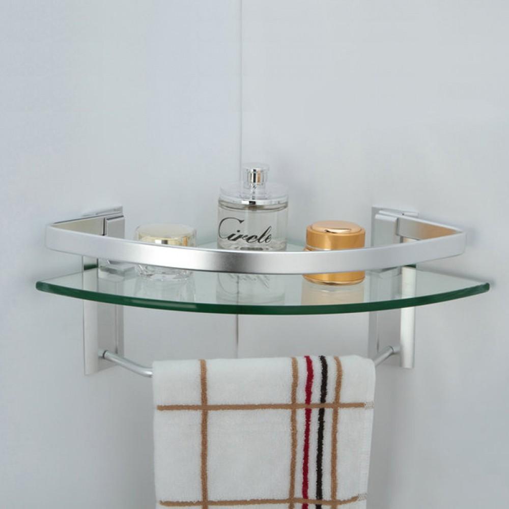 KES Aluminum Bathroom Glass Corner Shelf with Towel Bar ... on Bathroom Corner Shelf  id=97314