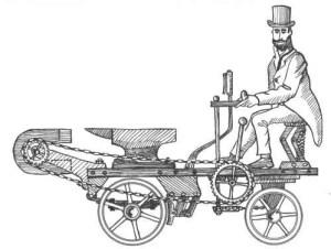 Hans-Peter Gramatke'nin mıknatıslı arabası. Öndeki at nalı şekilli mıknatıs arabadaki demiri çekecek ve enerji harcamadan yol alınacak(!) Fren sistemi de düşünülmüş. Hans-Peter Gramatke's magnet-mobile. The magnet pulls the iron anvil. Note the brake lever that rotates the horseshoe magnet to stop the vehicle.