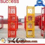 Building Used Single Cage Construction Hoist with Hop Deep Galvanized Mast Section