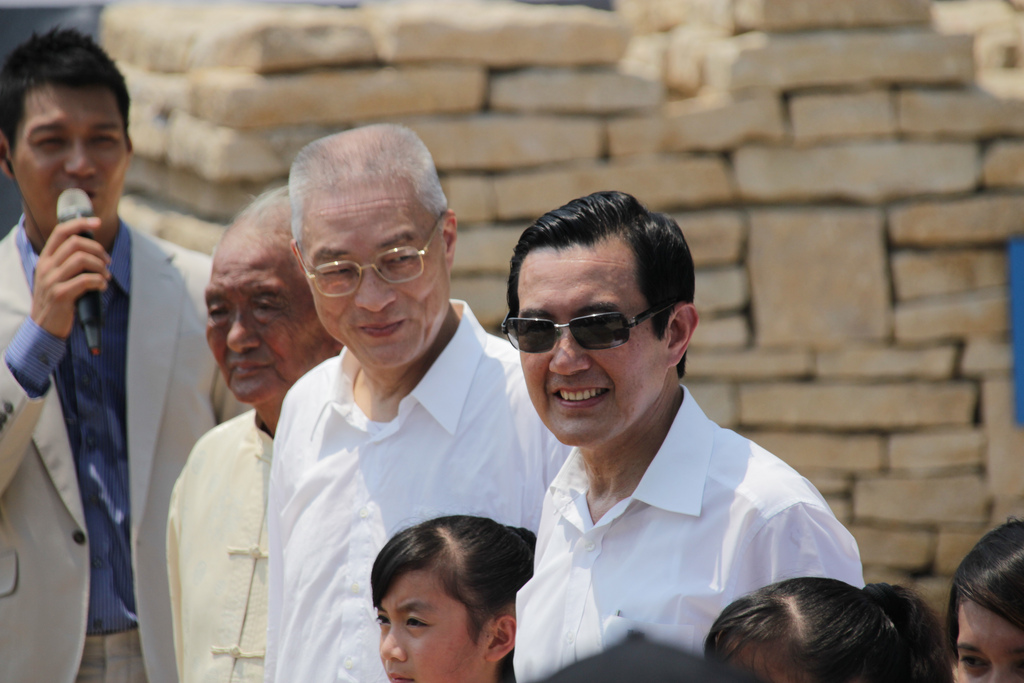 Former president Ma Ying-jeou with current KMT chairman Wu Den-yih