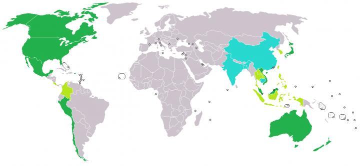 Countries in TPP in Dark Green (by Japinderum, Phospheros, and Orser67, CC BY-SA 3.0)