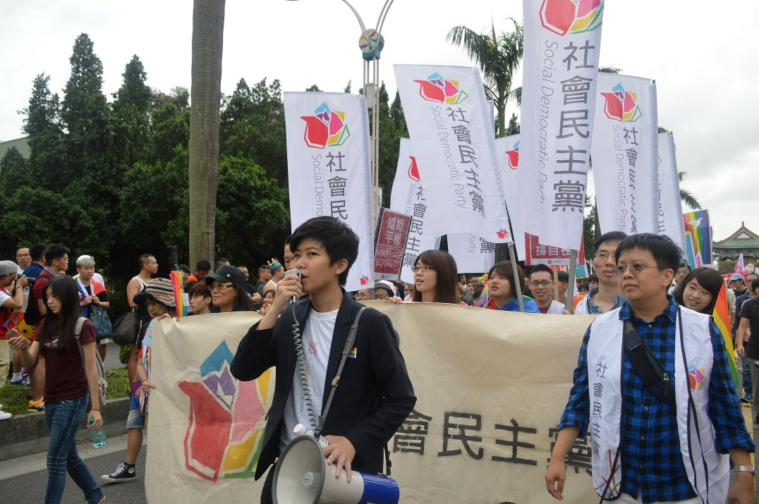 Social Democratic Party's Miao Poya at the parade (by William Yang)