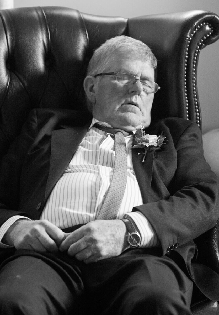 Grandad falls asleep in armchair at Herefordshire wedding