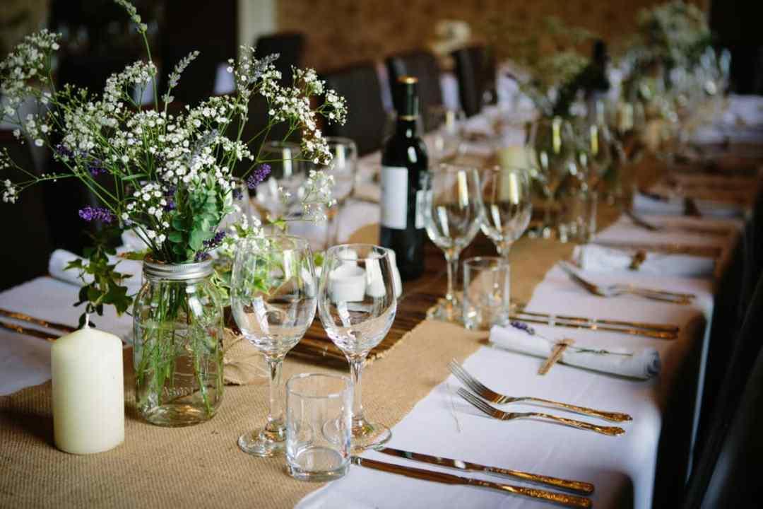 Wedding breakfast table layout at Lemore Manor