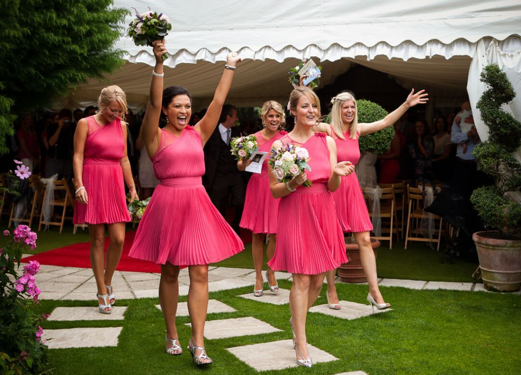 Bridesmaids in pink dresses at Cheltenham wedding