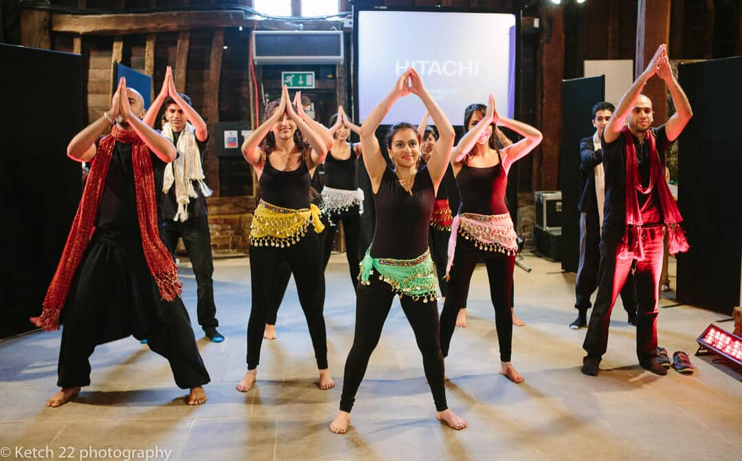 colourful dancers entertaining at Indian Mehendi evening