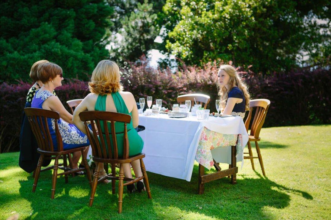 Wedding guests in garden