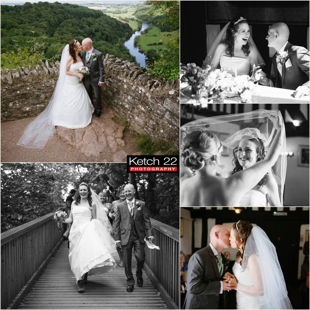 Bride and groom kissing overlooking river at wedding in Wye valley