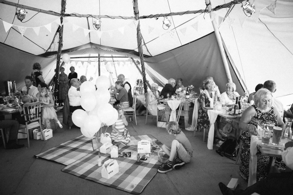 wedding guests enjoy vintageb tea party in Shropshire